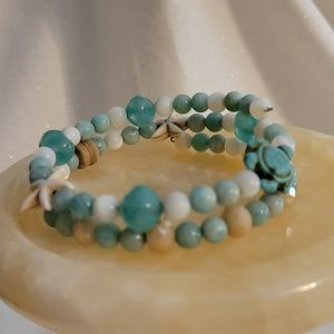 Amazonite and Mother of Pearl Wrap Bracelet
